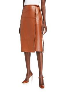 Jason Wu Faux-Wrap Lambskin Leather Tie-Waist Skirt