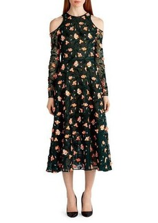 Jason Wu Floral-Embroidered Cold-Shoulder Dress