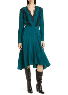 Jason Wu Floral Lace Trim Long Sleeve Silk Dress