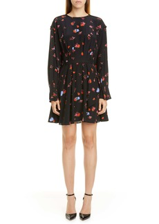 Jason Wu Floral Long Sleeve Silk Dress