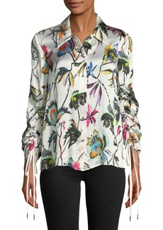 Jason Wu Floral-Print Button-Down Drawstring-Sleeve Silk Blouse