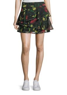 Jason Wu GREY Floral-Print Ruffled Silk Miniskirt