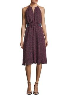Jason Wu Sleeveless Jewel-Neck Printed Silk Dress