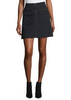 Jason Wu GREY Zip-Front Crepe Miniskirt w/ Large Patch Pockets