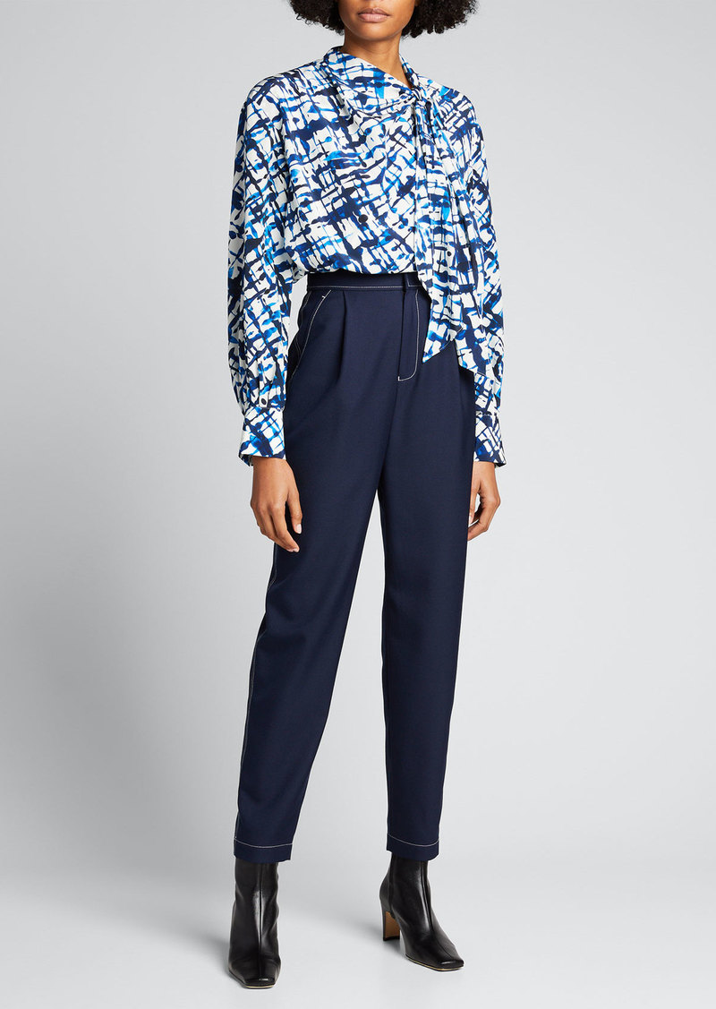Jason Wu High-Waist Contrast-Stitch Ankle Pants