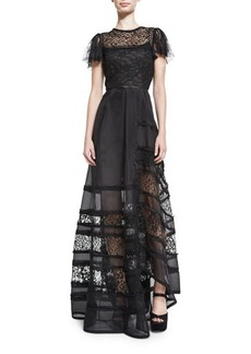 Jason Wu Lace-Inset Short-Sleeve Ball Gown