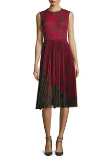 Jason Wu Lace-Print Sleeveless Pleated Dress