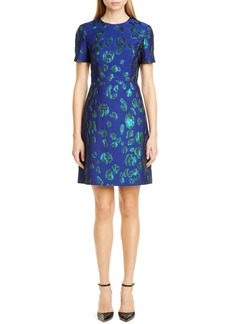 Jason Wu Leopard Satin Jacquard Sheath Dress