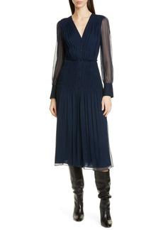 Jason Wu Long Sleeve Crinkle Silk Chiffon Midi Dress