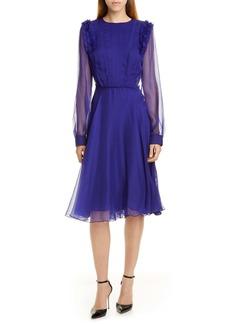 Jason Wu Long Sleeve Crinkled Chiffon Dress