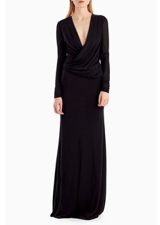 Jason Wu Long-Sleeve Draped-Neckline Jersey Crepe Evening Gown