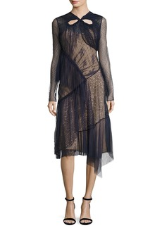 Jason Wu Long-Sleeve Mixed-Lace Dress