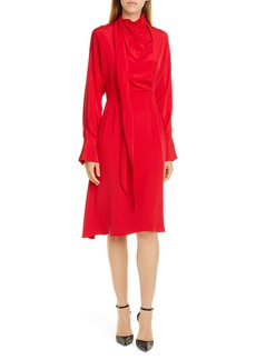Jason Wu Long Sleeve Tie Neck Double Georgette Dress