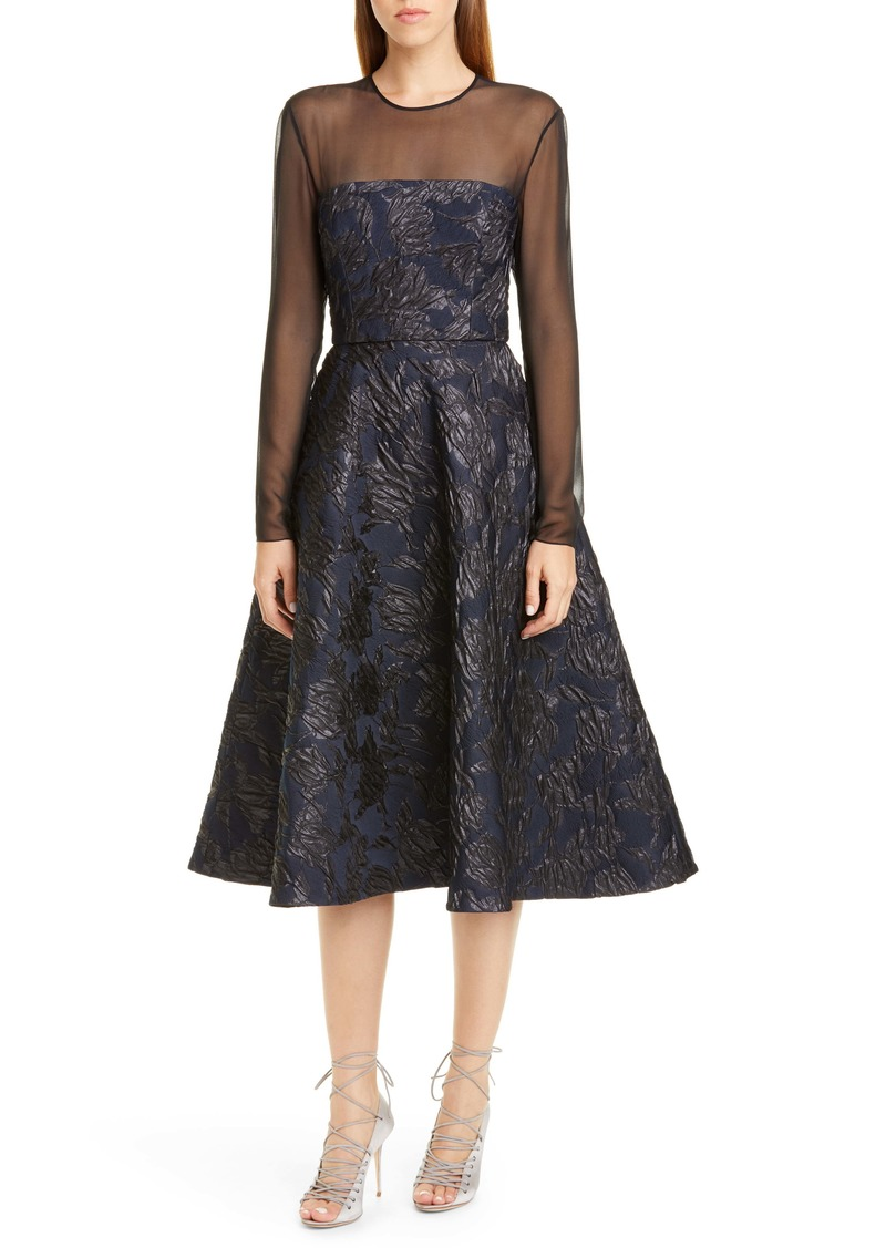 Jason Wu Collection Long Sleeve Tulip Cloqué Cocktail Dress