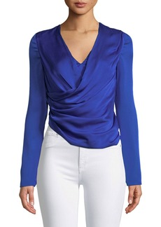 Jason Wu Long-Sleeve V-Neck Silk Satin Wrap Top