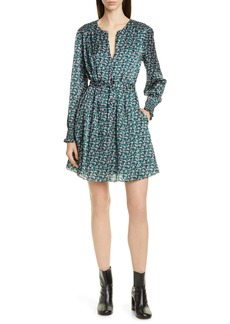 Jason Wu Mini Floral Print Long Sleeve Silk Dress