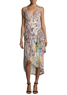 Jason Wu Mixed Floral-Print Chiffon Midi Dress