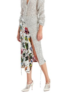 Jason Wu Mixed-Print Crinkle Crepon Wrap Skirt
