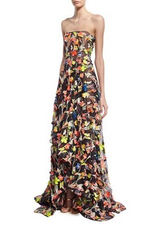 Jason Wu Neon Floral Strapless Gown