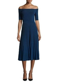 Jason Wu Off-the-Shoulder Ribbed Half-Sleeve Dress