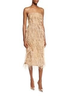 Jason Wu Ostrich-Feather Strapless Cocktail Dress