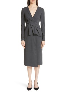 Jason Wu Peplum Waist Tropical Stretch Wool Dress