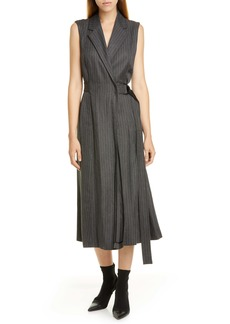 Jason Wu Pinstripe Suiting Wrap Midi Dress