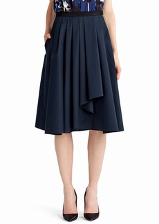Jason Wu Pleated A-Line Drape-Front Skirt