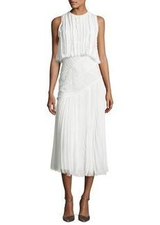 Jason Wu Pleated Chiffon Lace-Inset Dress