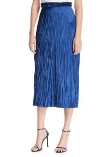 Jason Wu Pleated Satin Midi Skirt