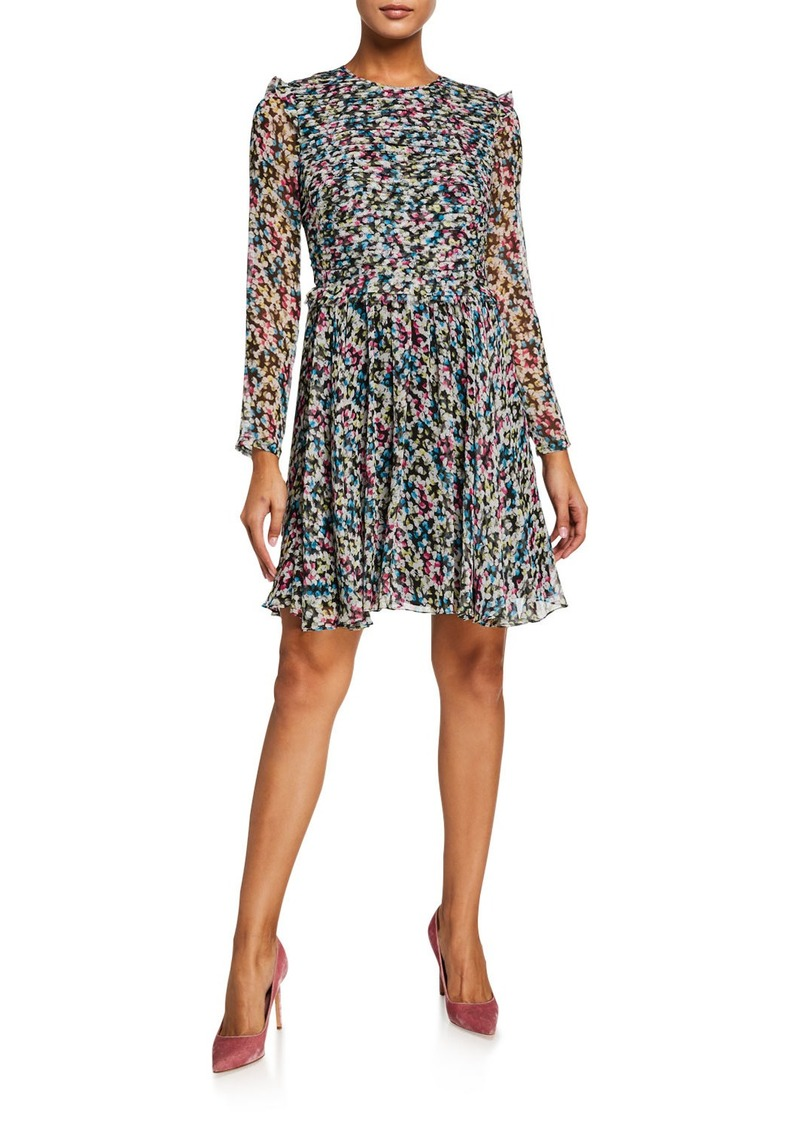 Jason Wu Printed Crewneck Long-Sleeve Layered Silk Dress