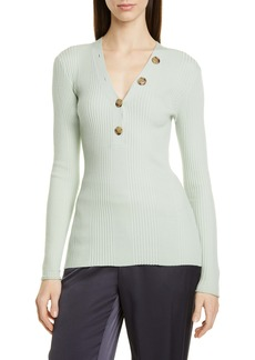 Jason Wu Ribbed Button V-Neck Sweater