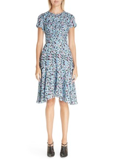 Jason Wu Ruched Floral Print Silk Georgette Dress