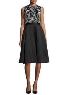 Jason Wu Scribble-Print A-Line Combo Dress