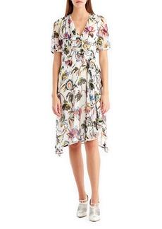 Jason Wu Short-Sleeve Floral-Print Chiffon Dress