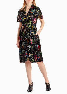 Jason Wu Short-Sleeve Floral-Print Crinkle Silk Dress
