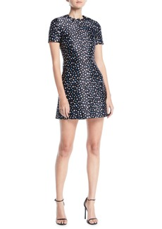 Jason Wu Short-Sleeve Mini Floral-Print Satin A-Line Mini Dress