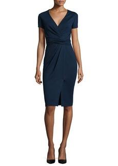 Jason Wu Short-Sleeve Ponte Wrap-Front Dress