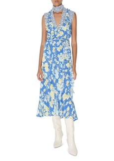 Jason Wu Silk Floral Print Midi Dress