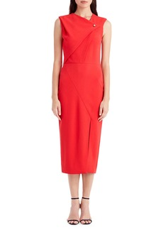 Jason Wu Sleeveless Asymmetric-Neck Cocktail Dress with Pearl Snap