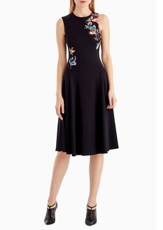 Jason Wu Sleeveless Fit-and-Flare Crepe Cocktail Dress w/ Floral-Embroidery