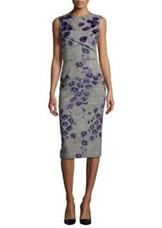 Jason Wu Sleeveless Floral-Embroidered Tweed Sheath Dress