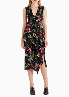 Jason Wu Sleeveless Surplice Floral-Print Crinkle Silk Day Dress