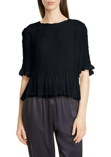 Jason Wu Smocked Silk Chiffon Top