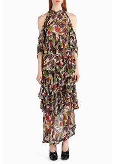 Jason Wu Strass Floral-Print Chiffon Cold-Shoulder Gown