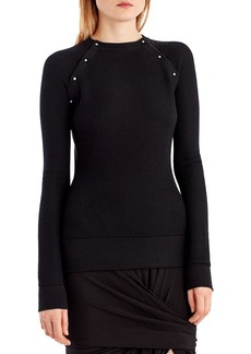 Jason Wu Stud-Trim Merino-Silk Sweater