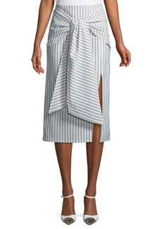 Tie-Front Striped Cotton Skirt