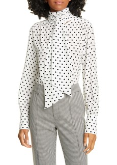 Jason Wu Tie Neck Polka Dot Silk Blouse