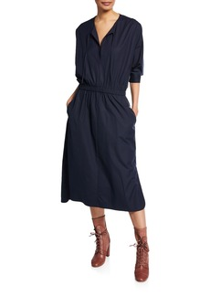 Jason Wu V-Neck Cinched-Waist Stretch-Cotton Poplin Dress