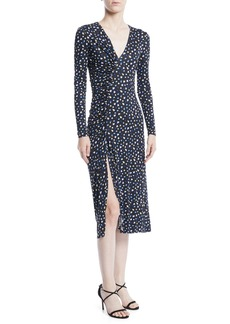 Jason Wu V-Neck Long-Sleeve Floral-Print Jersey Dress